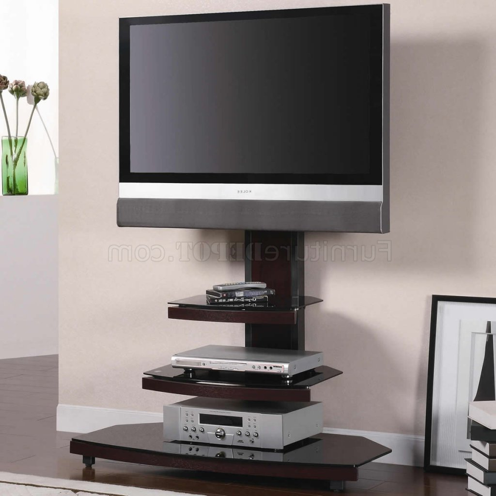 Gun Metal With Wood & Tempered Black Glass Modern Tv Stand With Regard To Modern Black Tv Stands On Wheels With Metal Cart (View 2 of 20)