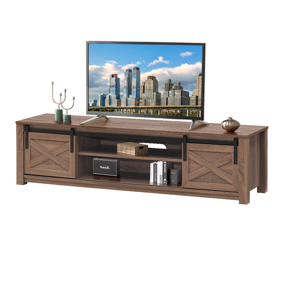 """Gymax Sliding Barn Door Tv Stand For Tv's Up To 65 Regarding Grenier Tv Stands For Tvs Up To 65"""" (View 6 of 20)"""