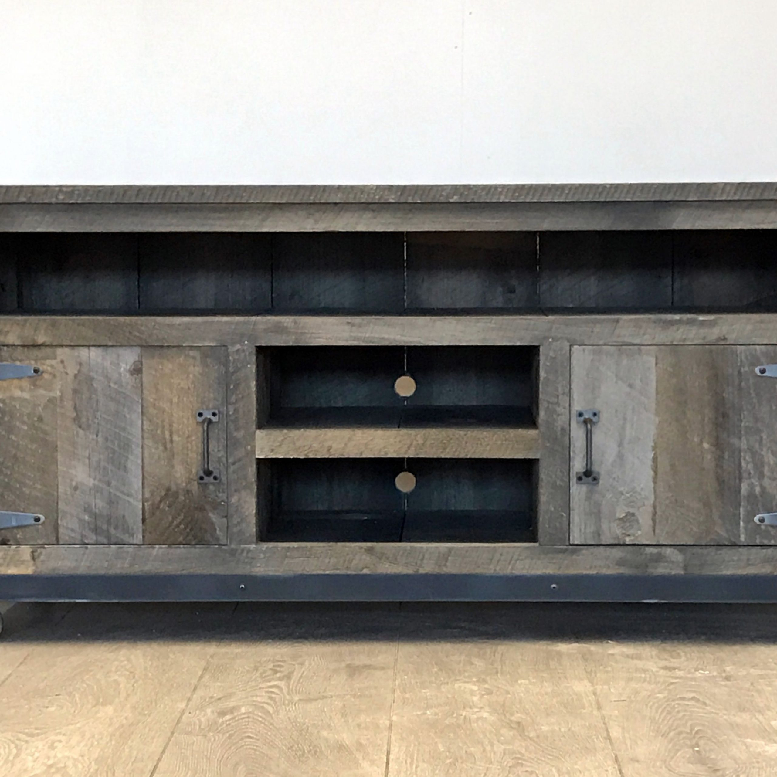 Hand Made Rustic Industrial Weathered Barn Board For Rustic Grey Tv Stand Media Console Stands For Living Room Bedroom (View 12 of 20)