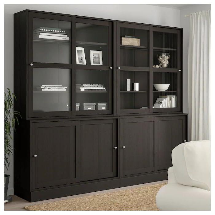 Havsta Storage With Sliding Glass Doors, Dark Brown, 95 1 Inside Dark Brown Tv Cabinets With 2 Sliding Doors And Drawer (View 9 of 20)