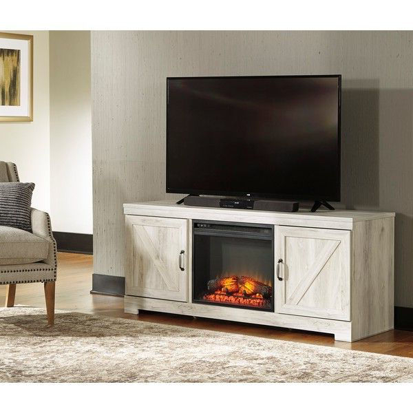 He73 Whitewash Tv Stand With Led Fireplace Pertaining To Farmhouse Woven Paths Glass Door Tv Stands (View 5 of 20)