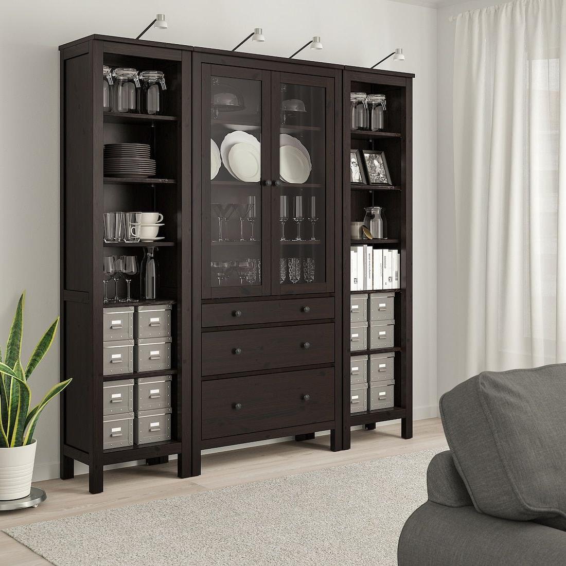 Hemnes Storage Combination W Doors/drawers – Black Brown Regarding Dark Brown Tv Cabinets With 2 Sliding Doors And Drawer (View 13 of 20)
