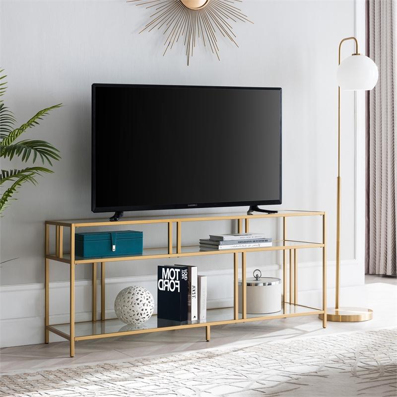 "Henn&hart 55"" Brass Metal Tv Stand With Glass Shelves – Tv0488 For Glass Shelves Tv Stands (View 1 of 20)"