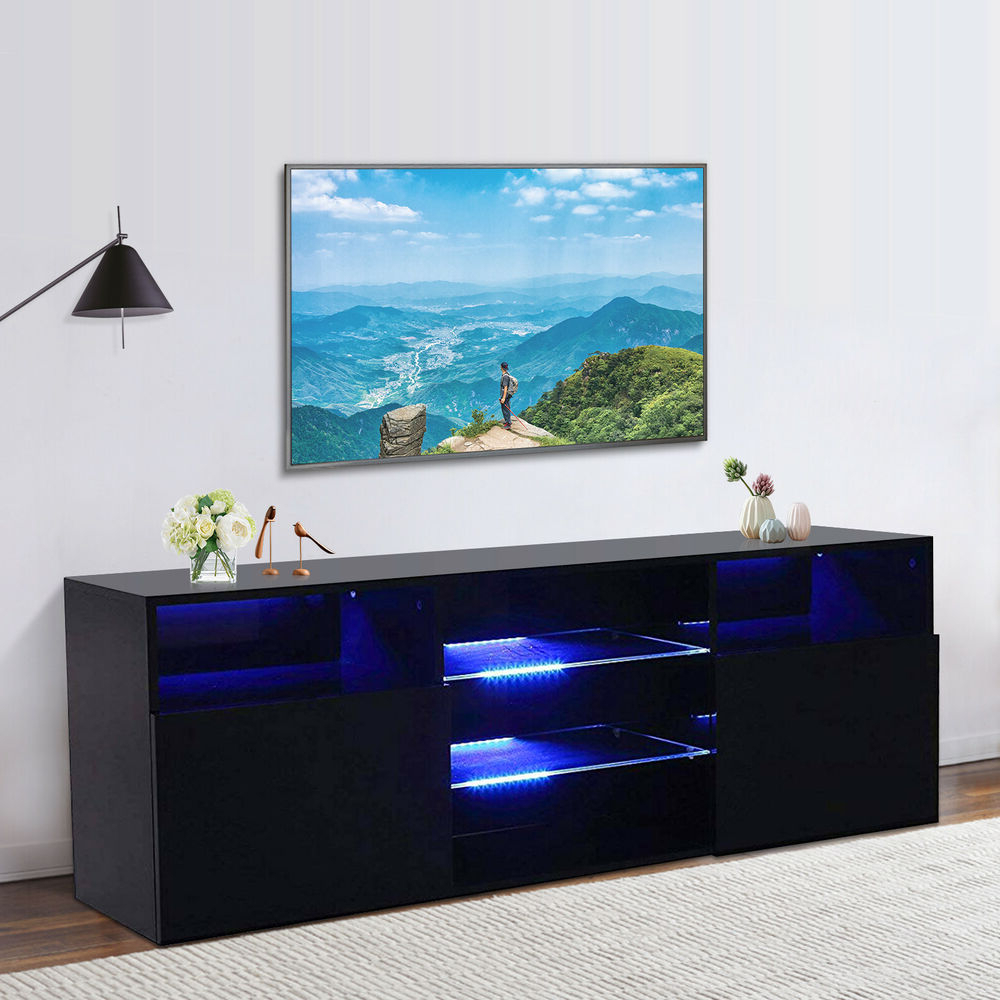 High Gloss Black Led Tv Stand Unit 2 Doors 2 Shelves Within 57'' Led Tv Stands Cabinet (View 11 of 20)