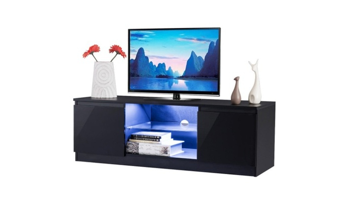 High Gloss Tv Stand Unit Cabinet Media Console Furniture Pertaining To Ktaxon Modern High Gloss Tv Stands With Led Drawer And Shelves (View 16 of 20)