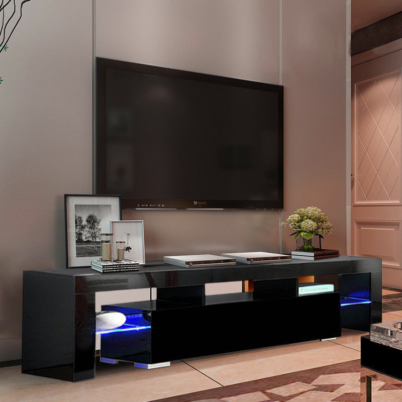 High Gloss Tv Stand Unit Cabinet W/led Shelves Drawers Regarding Tv Stands Cabinet Media Console Shelves 2 Drawers With Led Light (View 10 of 20)