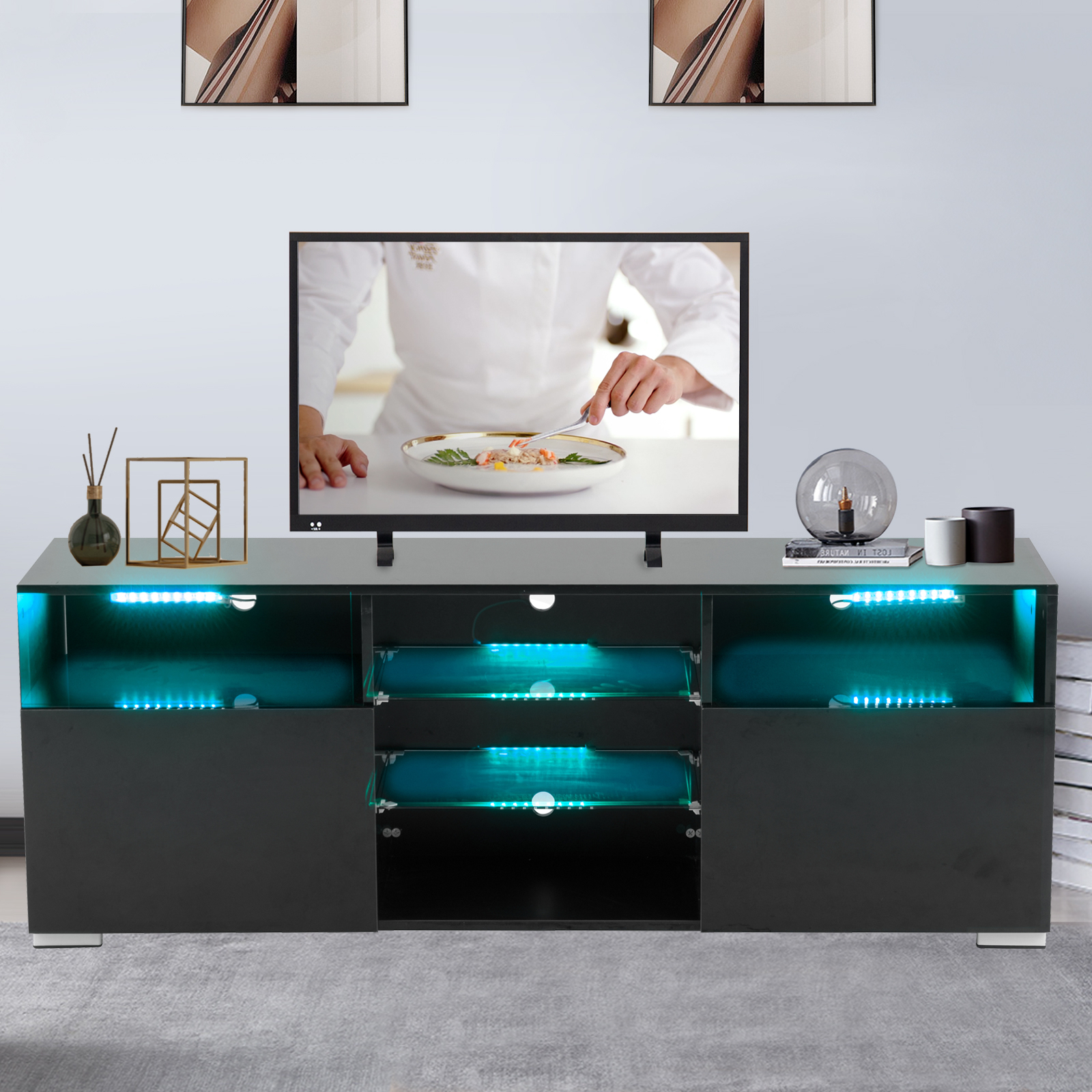 High Gloss Tv Stand With Led Lights, White Tv Stand For 58 With Regard To Horizontal Or Vertical Storage Shelf Tv Stands (View 2 of 20)