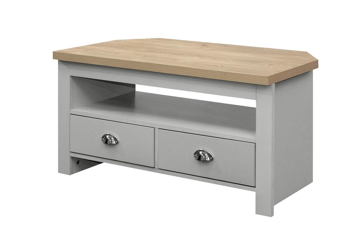 Highgate Corner Tv Unit Grey & Oak Effect – Birlea Furniture Pertaining To Fulton Oak Effect Corner Tv Stands (View 4 of 20)