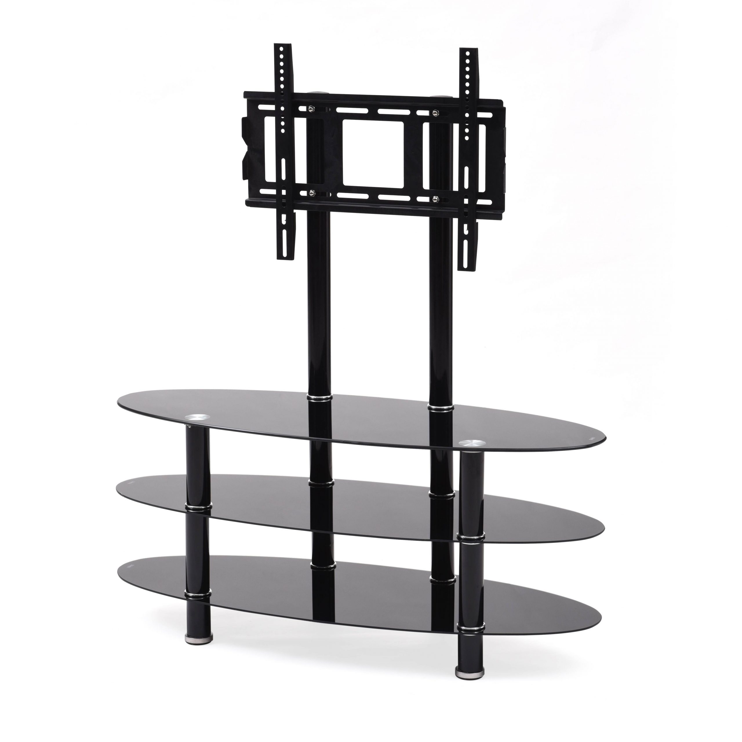 """Hodedah Black 3 Shelf Glass Tv Stand With Mount For Tvs Up With Regard To Glass Shelves Tv Stands For Tvs Up To 60"""" (View 18 of 20)"""