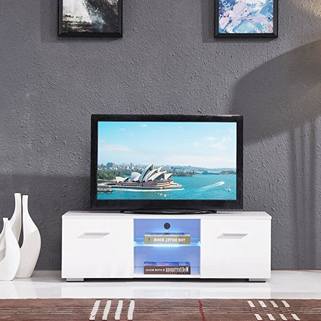 Holi Us High Gloss Tv Stand Unit Cabinet W/led Shelves 2 Regarding Hannu Tv Media Unit White Stands (View 12 of 20)