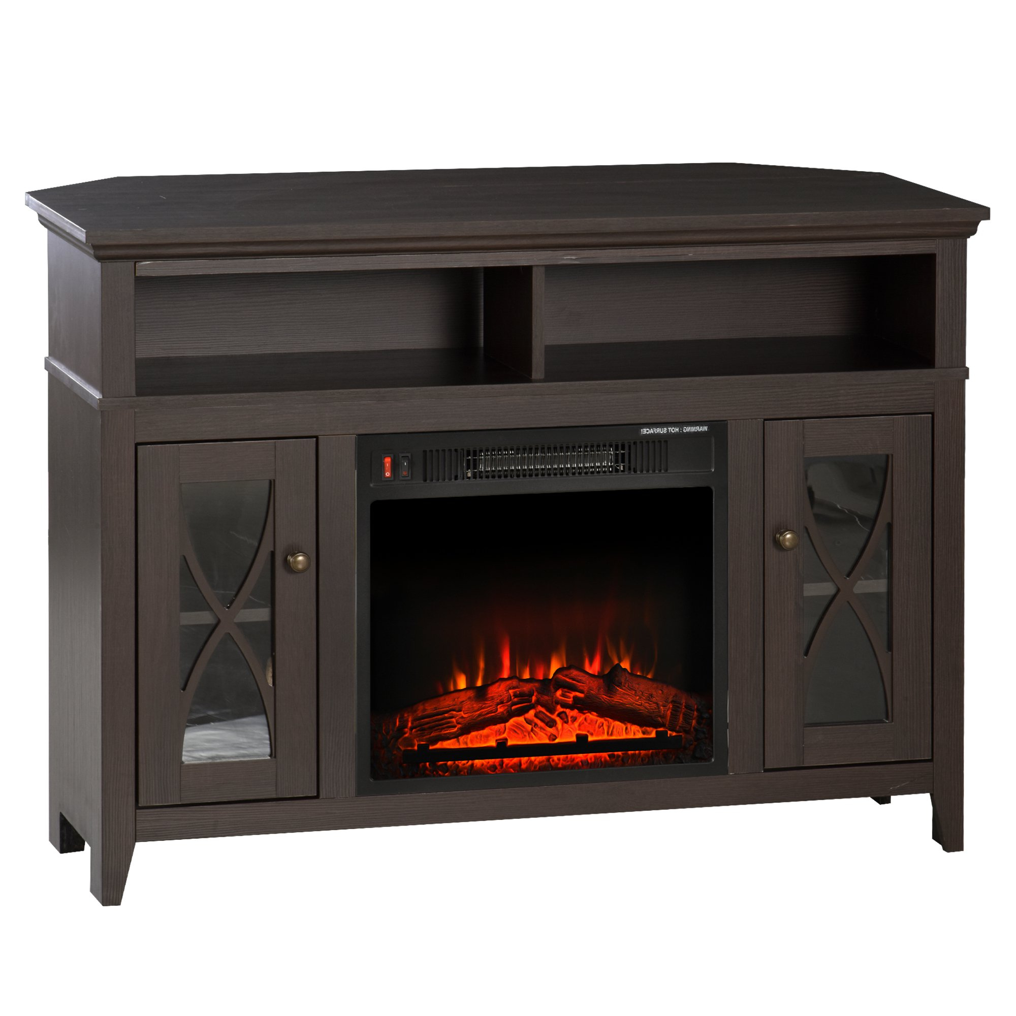 Homcom 2 In 1 Tv Stand And Electric Fireplace With 2 Cable Pertaining To Electric Fireplace Tv Stands With Shelf (View 2 of 20)