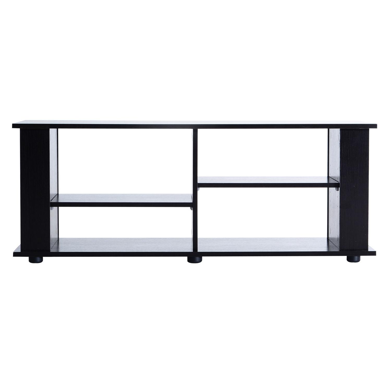 "Homcom 48"" Modern Open Adjustable Shelf Tv Stand – Black With Simple Open Storage Shelf Corner Tv Stands (View 13 of 20)"