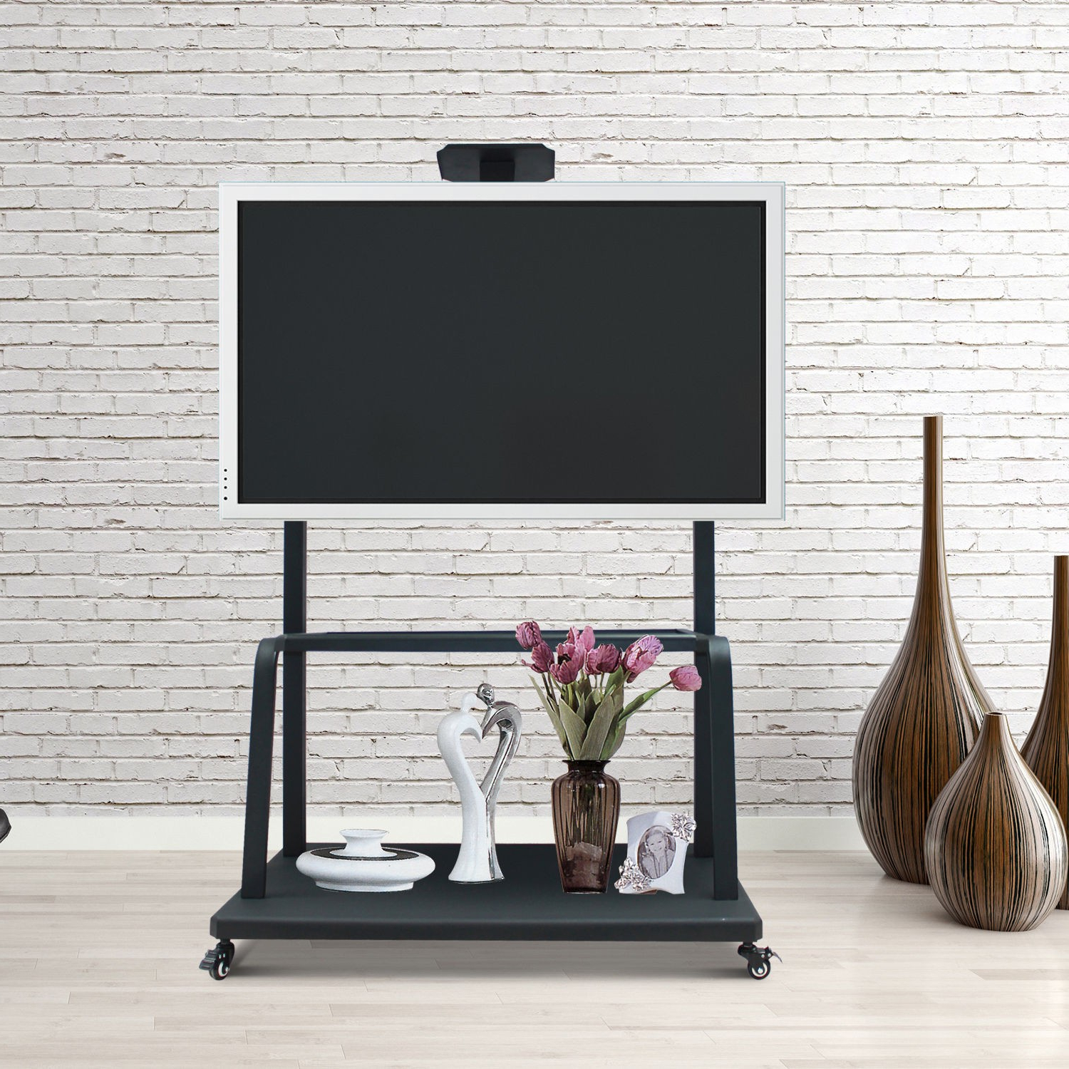 """Homcom Tv Stand 50""""  100"""" Led Plasma Screen Mount Rolling For Mobile Tv Stands With Lockable Wheels For Corner (View 13 of 20)"""
