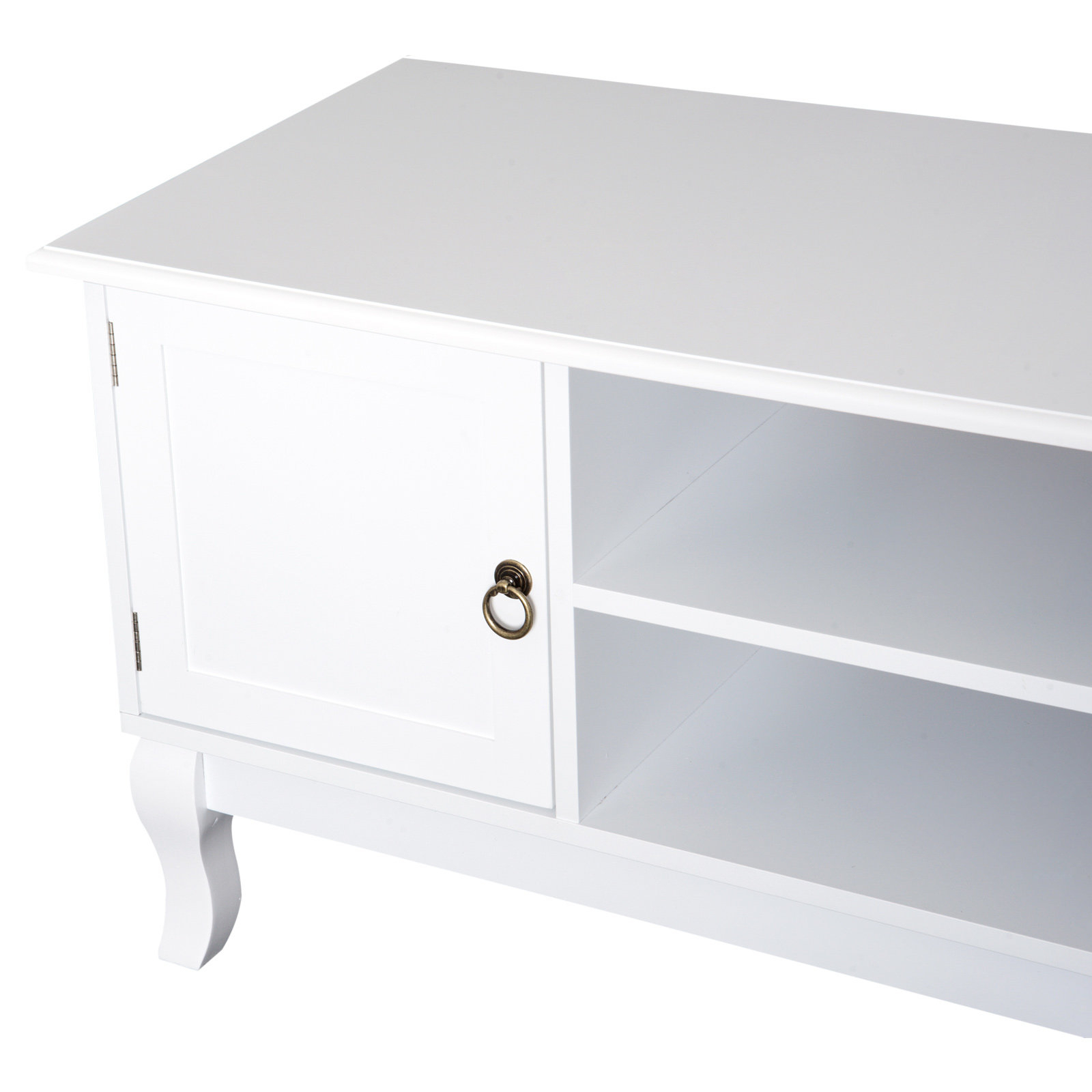 Homcom Tv Stand Unit Corner Table Modern Eco Friendly Mdf Throughout Compton Ivory Corner Tv Stands (View 15 of 20)