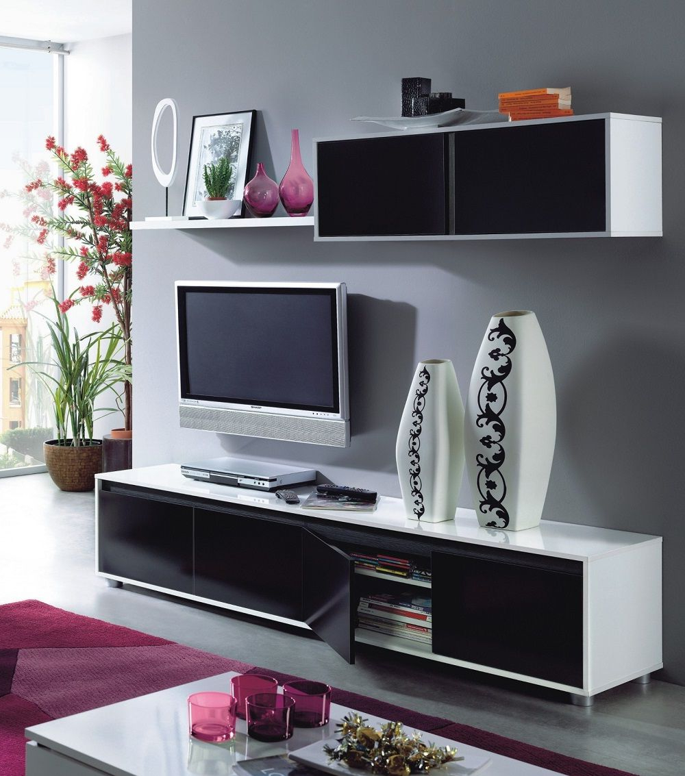 Home Est Lena Black White Gloss Living Room Tv Stand Wall For Tv Stands With Drawer And Cabinets (View 5 of 20)