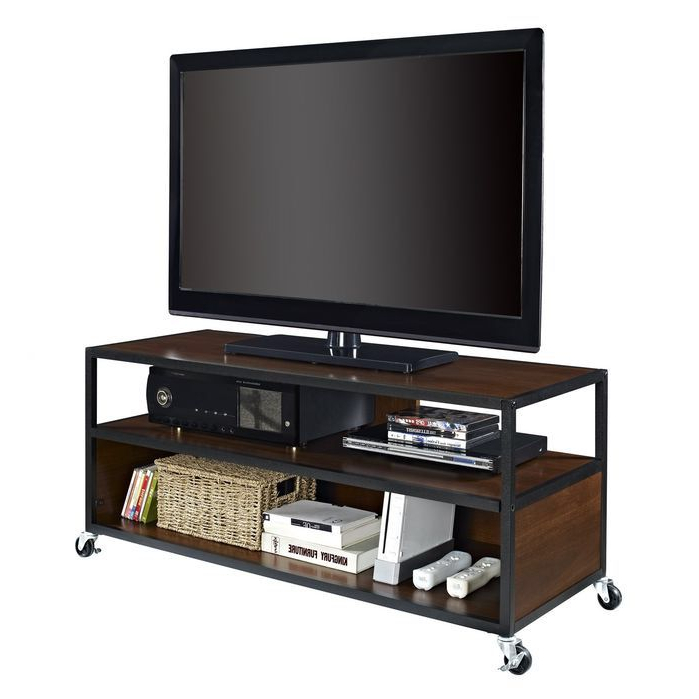 Home Loft Concepts Haley Tv Stand | Mobile Tv Stand, Tv In Modern Black Tv Stands On Wheels (View 6 of 20)