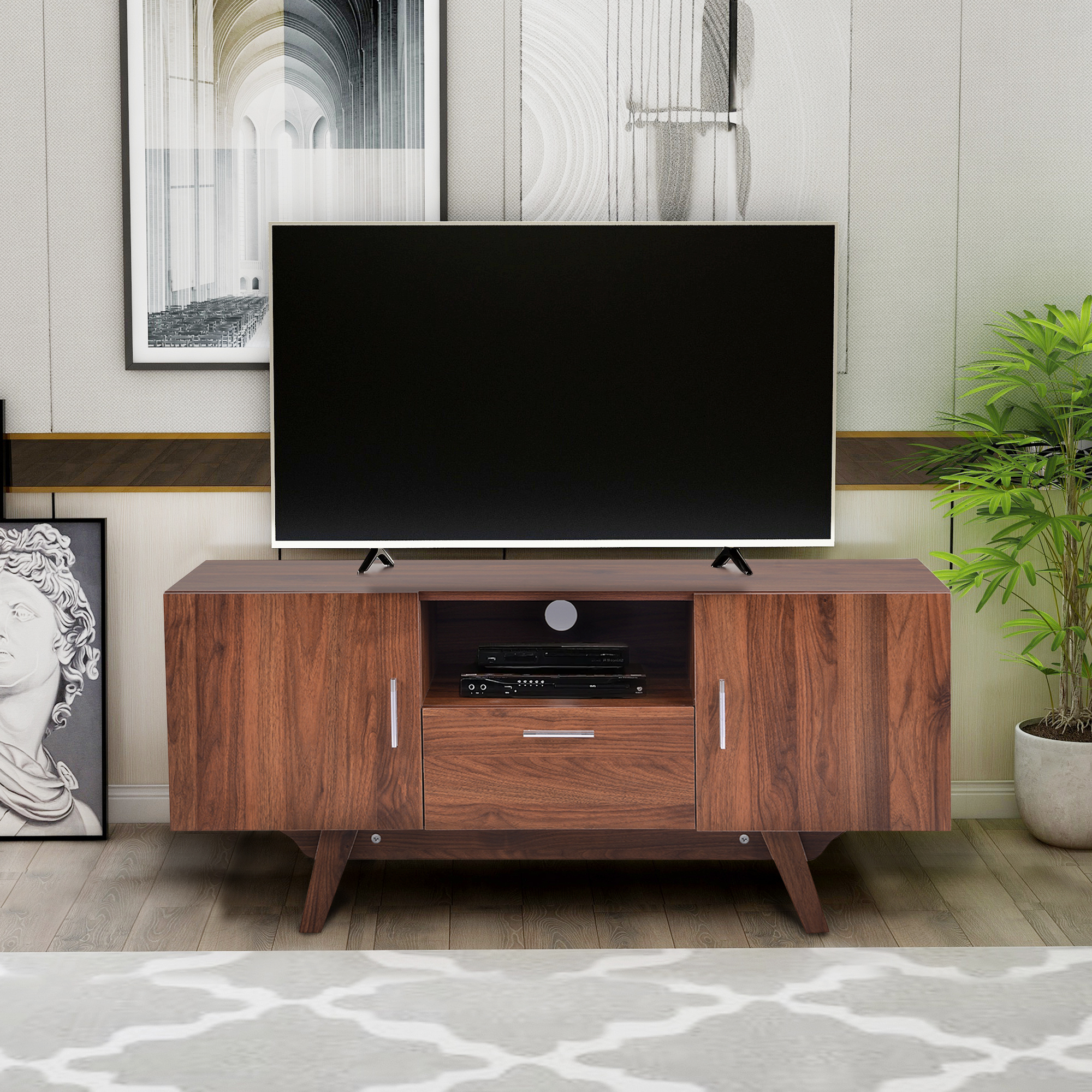 """Hommoo Tv Stand With Metal Legs For Tv's Up To 55 Inches Throughout Spellman Tv Stands For Tvs Up To 55"""" (View 11 of 20)"""