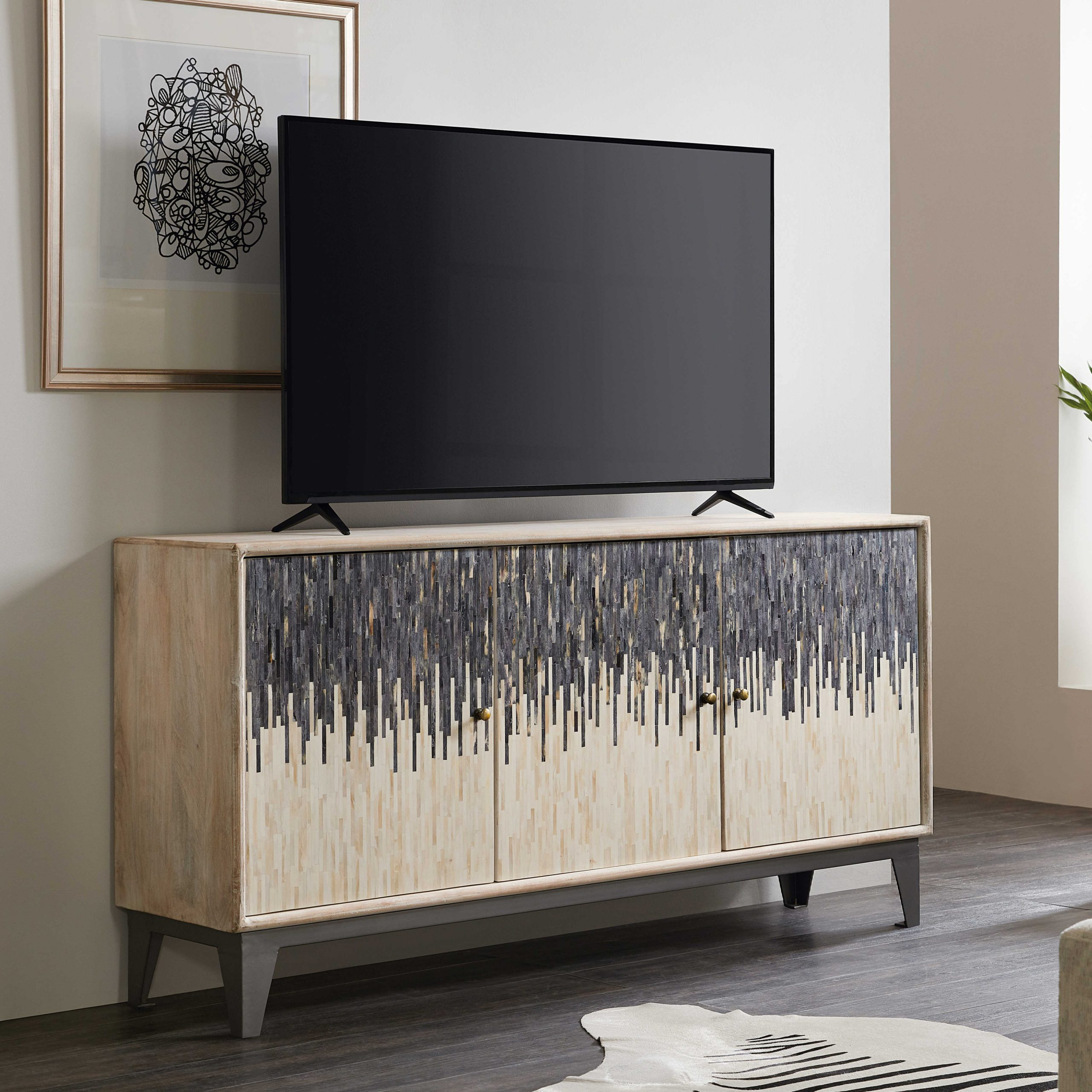 Hooker Furniture Light Wood 69'' Wide Tv Console With Regard To Lucy Cane Grey Wide Tv Stands (View 3 of 20)