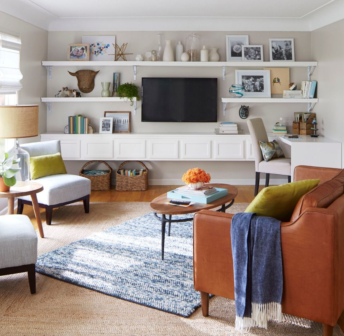 How To Build A Media Wall And Desk | Living Room Shelves For Simple Open Storage Shelf Corner Tv Stands (View 17 of 20)