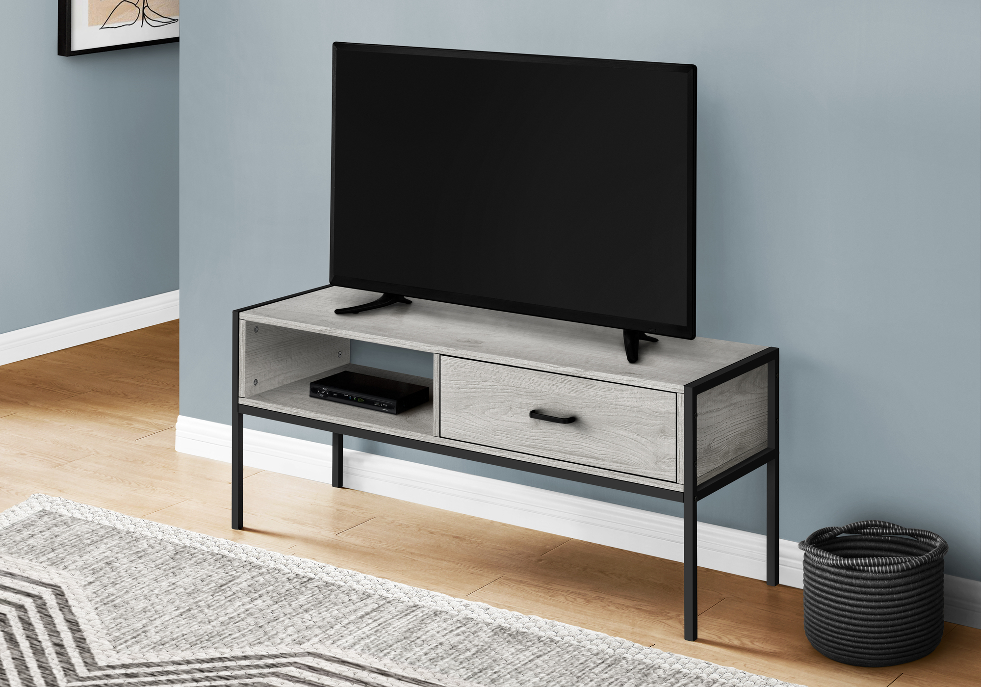 """I 2875 – Tv Stand – 48""""l / Grey / Black Metalmonarch In Vasari Corner Flat Panel Tv Stands For Tvs Up To 48"""" Black (View 9 of 20)"""