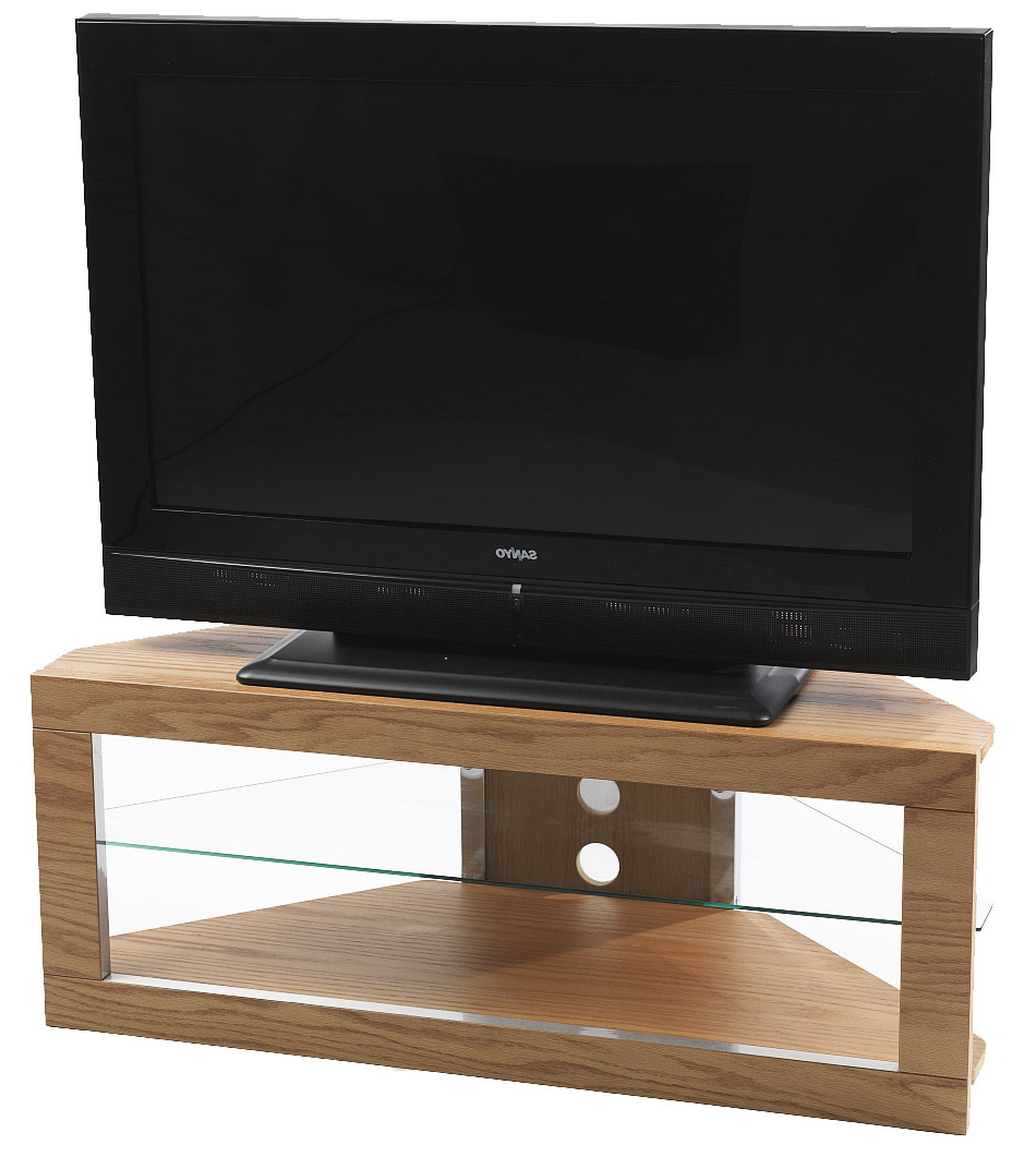 Iconic Lindi Tx7000 Oak Corner Tv Stand For Screens Up To With Regard To Priya Corner Tv Stands (View 17 of 20)