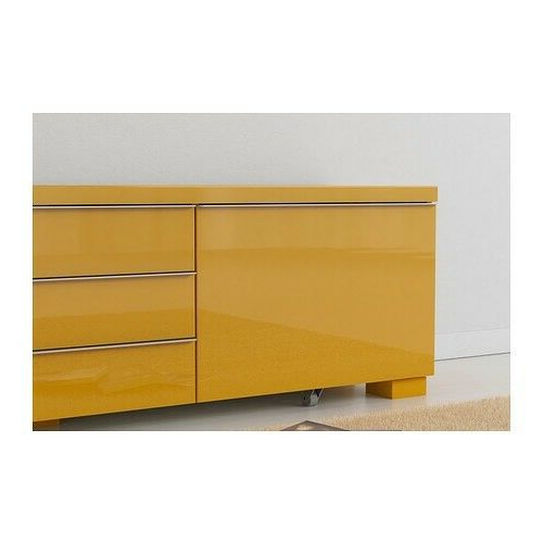 Ikea Bests Burs Mustard Yellow High Gloss Tv Unit   In Within Cambourne Tv Stands (View 16 of 20)