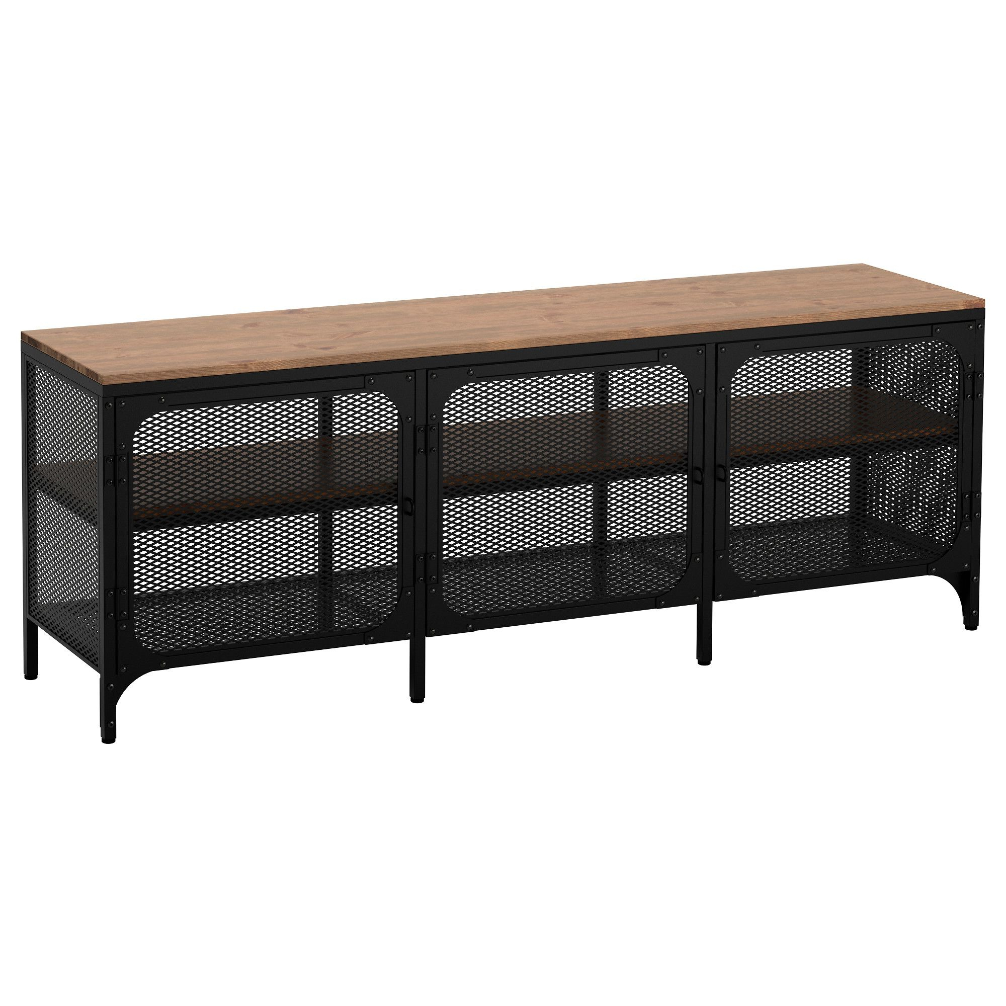 Ikea Fjallbo Black Tv Unit | For The Home | Tv Bench, Ikea Intended For Kado Corner Metal Mesh Doors Tv Stands (View 12 of 20)