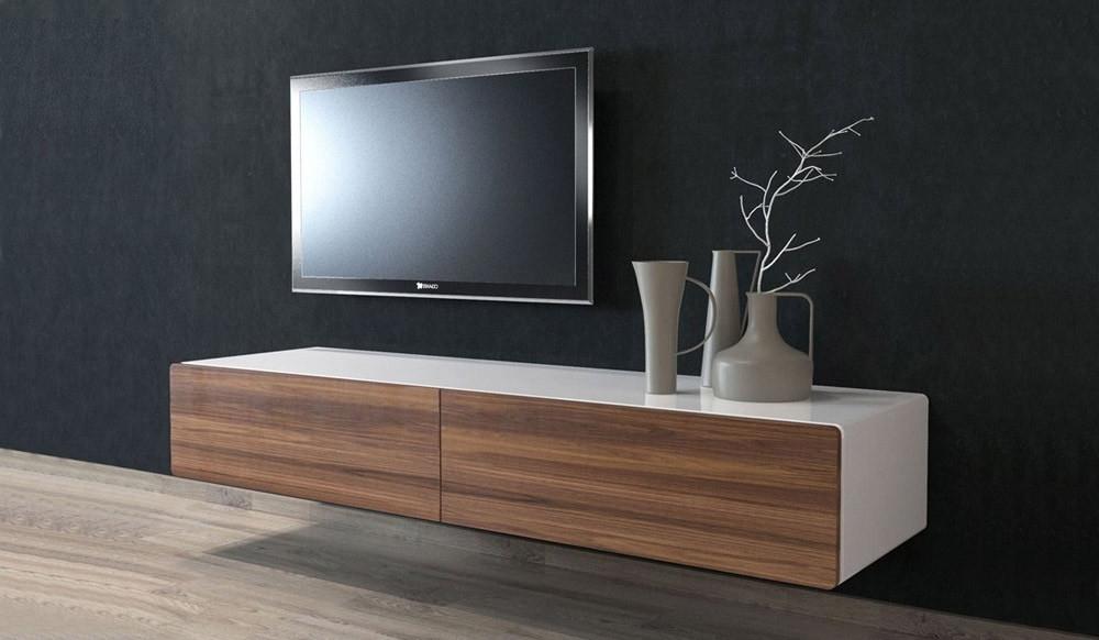 Ikon Matte White + Walnut Floating Tv Unit – Medium Within Scandi 2 Drawer White Tv Media Unit Stands (View 5 of 20)