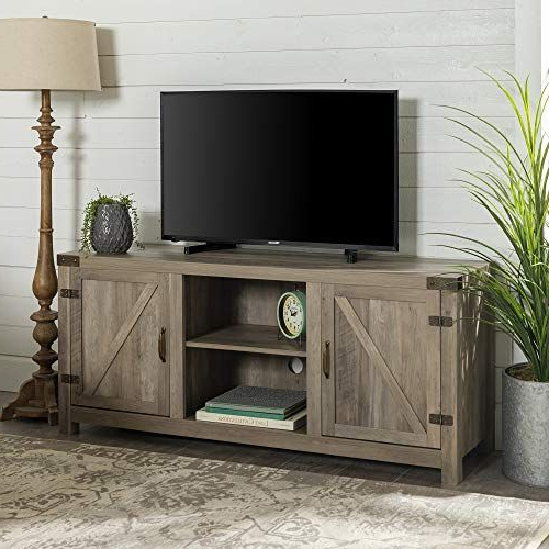 """Include Our Rustic Barn Door Style Tv Stand In Your Home With Regard To Jaxpety 58"""" Farmhouse Sliding Barn Door Tv Stands In Rustic Gray (View 1 of 20)"""