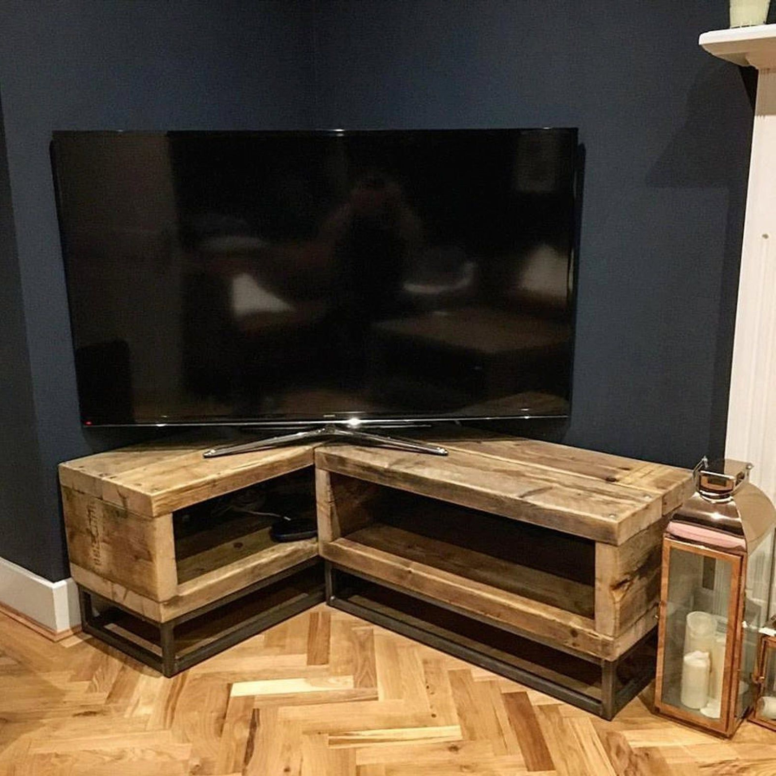 Industrial Chic Reclaimed Corner Tv Unit Stand Media Unit Inside Conrad Metal/glass Corner Tv Stands (View 11 of 20)