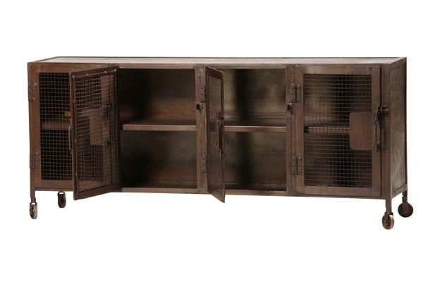 Industrial Iron Sideboard Cabinet With Mesh Doors | Iron In Kado Corner Metal Mesh Doors Tv Stands (View 17 of 20)