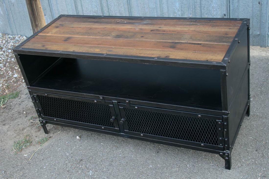 Industrial Tv Stand – Combine 9 | Industrial Furniture Intended For Kado Corner Metal Mesh Doors Tv Stands (View 7 of 20)