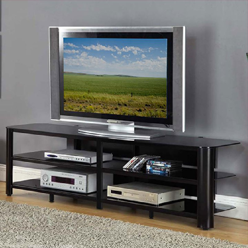 Innovex Oxford Series 75 Inch Flat Screen Tv Stand Black In Modern Black Floor Glass Tv Stands With Mount (View 5 of 20)