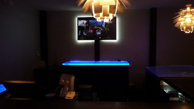 Inspired Led Color Changing Rgb Illuminated Glass Counter Inside 57'' Led Tv Stands With Rgb Led Light And Glass Shelves (View 14 of 20)