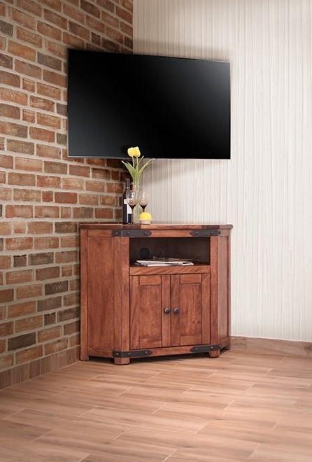 International Furniture Direct Parota Ifd866corn 2 Door With Regard To Modern 2 Glass Door Corner Tv Stands (View 16 of 20)