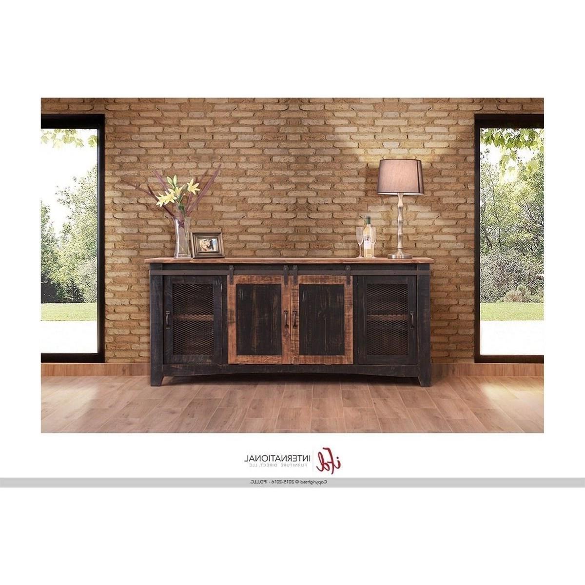 International Furniture Direct Pueblo Ifd370stand 80 80 With Kado Corner Metal Mesh Doors Tv Stands (View 5 of 20)