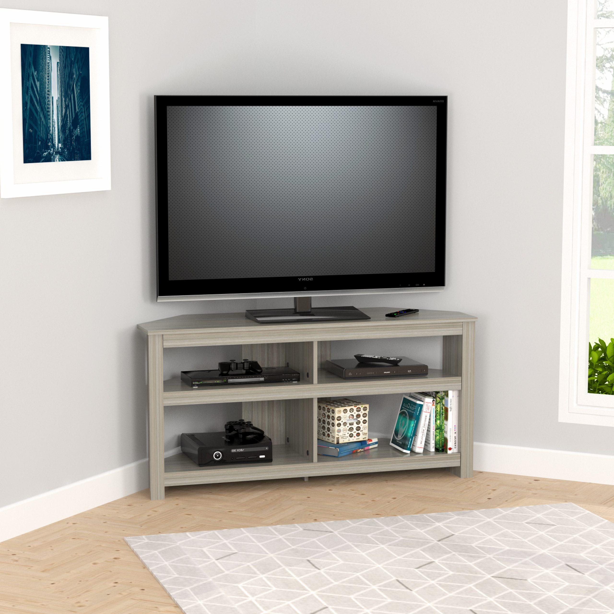 "Inval 4 Shelf Corner Tv Stand For Tvs Up To 60"", Smoke Oak For Corner Tv Stands For Tvs Up To 60"" (View 5 of 20)"