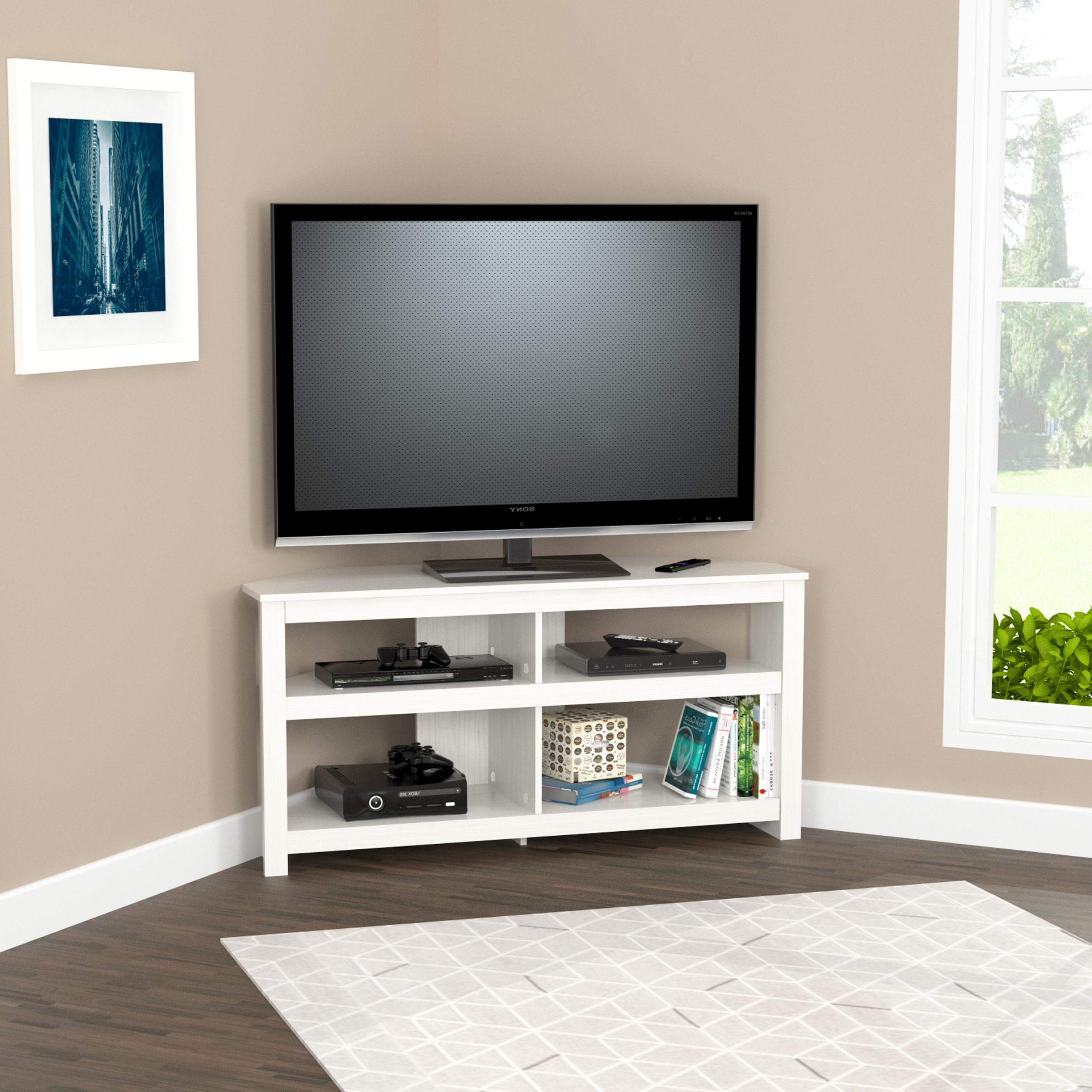 """Inval 4 Shelf Corner Tv Stand For Tvs Up To 60"""", Washed Inside Contemporary Black Tv Stands Corner Glass Shelf (View 5 of 20)"""