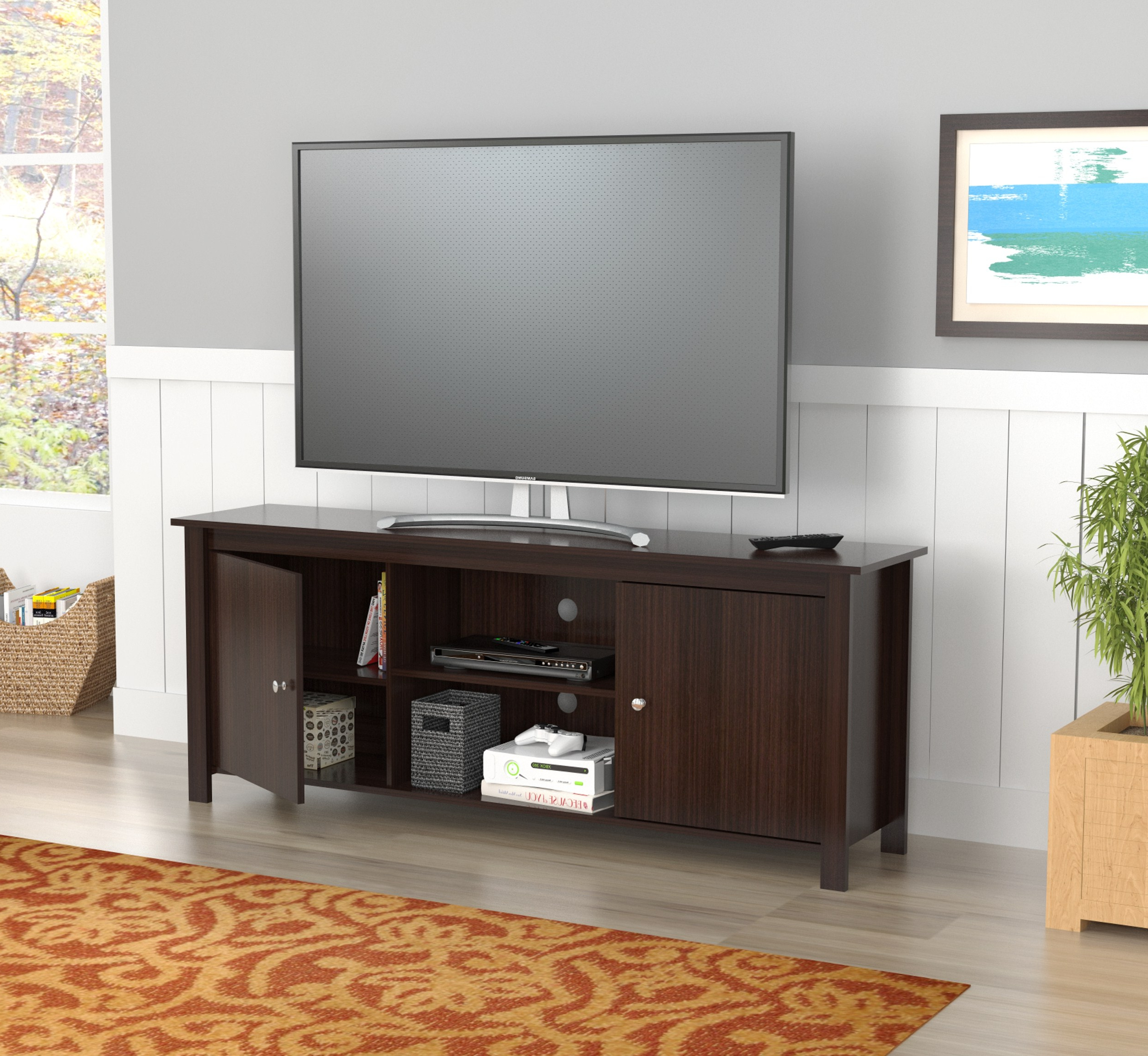 """Inval Contemporary Espresso 60 Inch Tv Stand – Walmart In Ahana Tv Stands For Tvs Up To 60"""" (View 17 of 20)"""