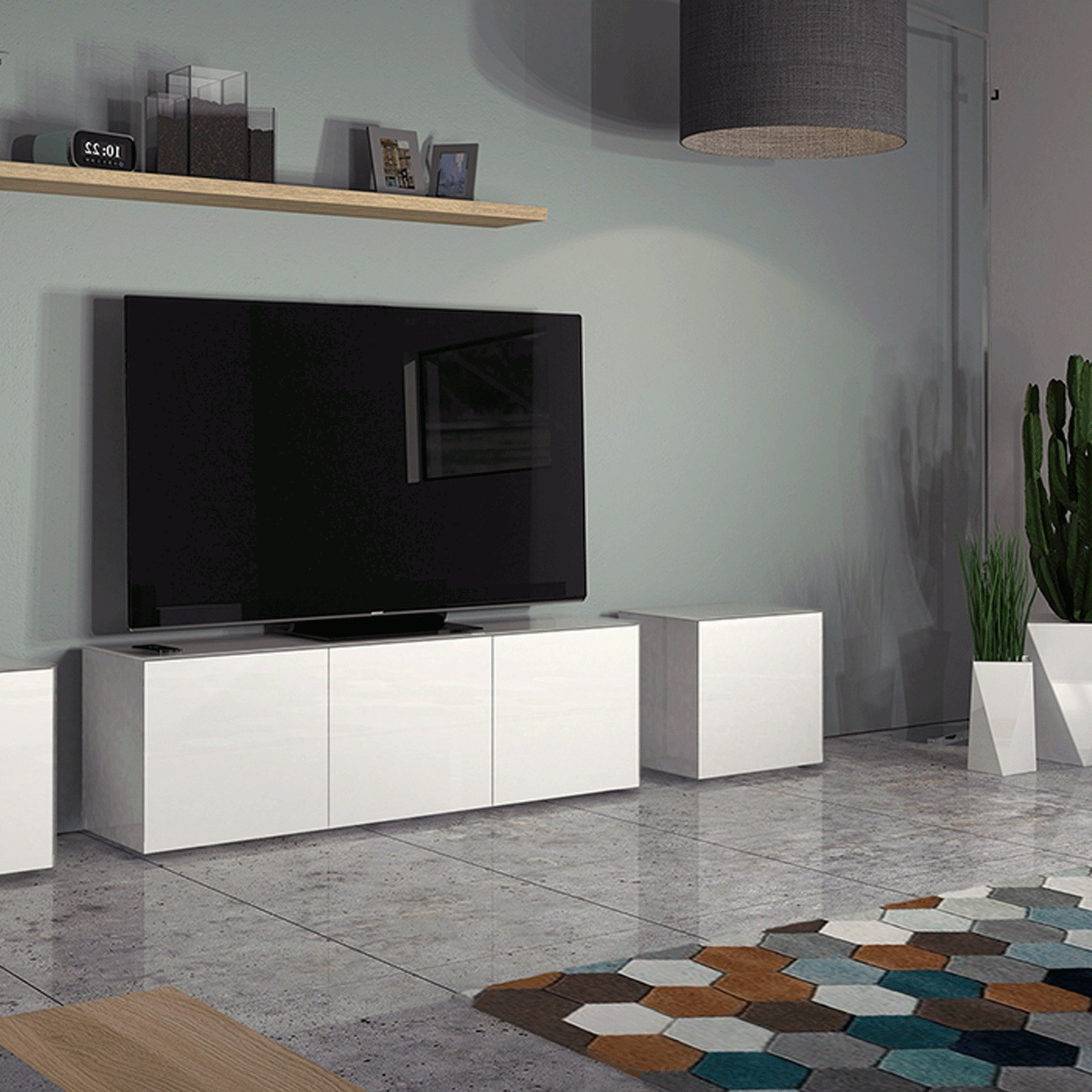 """Invictus White Tv Stand For Up To 70"""" Tvs Intended For Kinsella Tv Stands For Tvs Up To 70"""" (View 18 of 20)"""