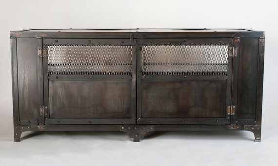 Items Similar To Custom Handmade Industrial Metal Media Within Modern Black Tv Stands On Wheels With Metal Cart (View 13 of 20)