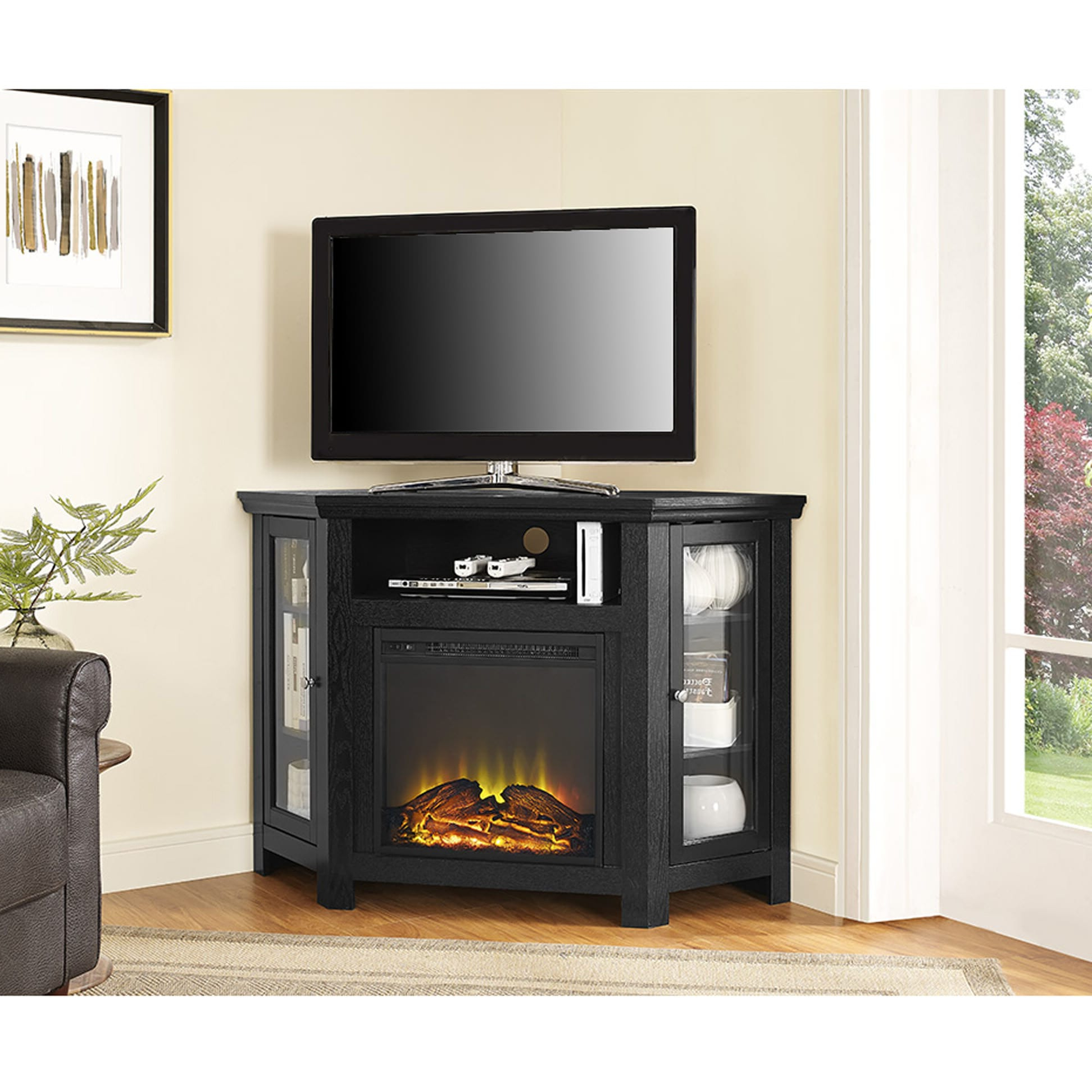 """Jackson 48 Inch Corner Fireplace Tv Stand – Black Pertaining To Wood Corner Storage Console Tv Stands For Tvs Up To 55"""" White (View 11 of 20)"""