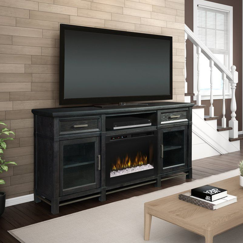 """Jane Tv Stand For Tvs Up To 65"""" With Fireplace   Tv Stand With Regard To Tiva White Ladder Tv Stands (View 11 of 20)"""