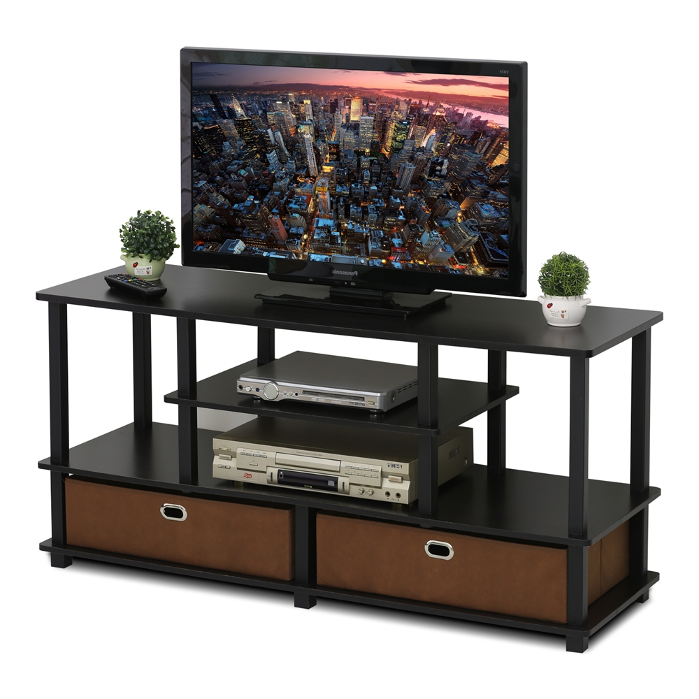Jaya Large Tv Stand For Up To 50 Inch Tv With Storage Bin, For Space Saving Black Tall Tv Stands With Glass Base (View 14 of 20)