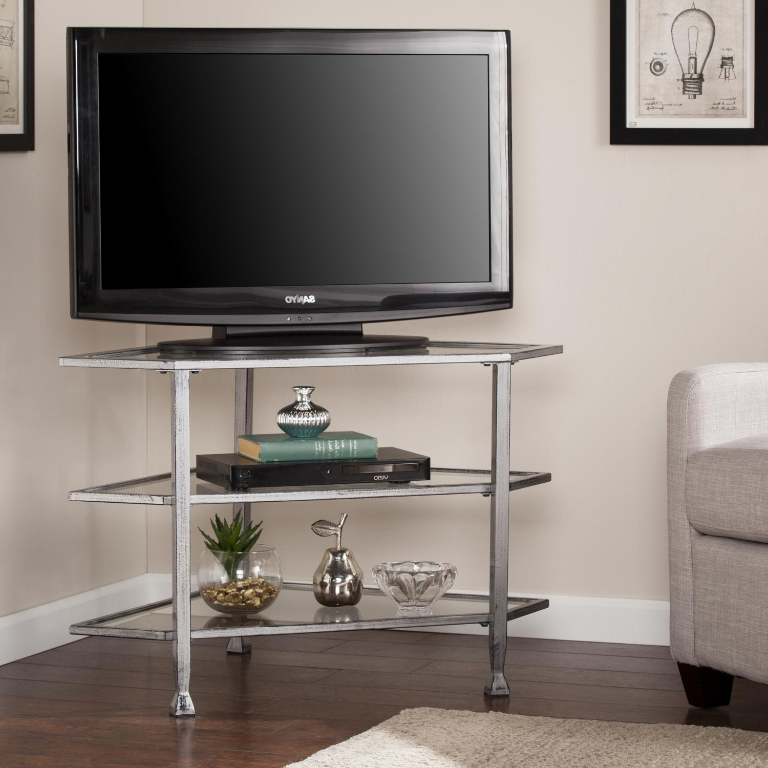 Jaymes Metal/glass Corner Tv Stand – Distressed Silver Within Modern 2 Glass Door Corner Tv Stands (View 9 of 20)