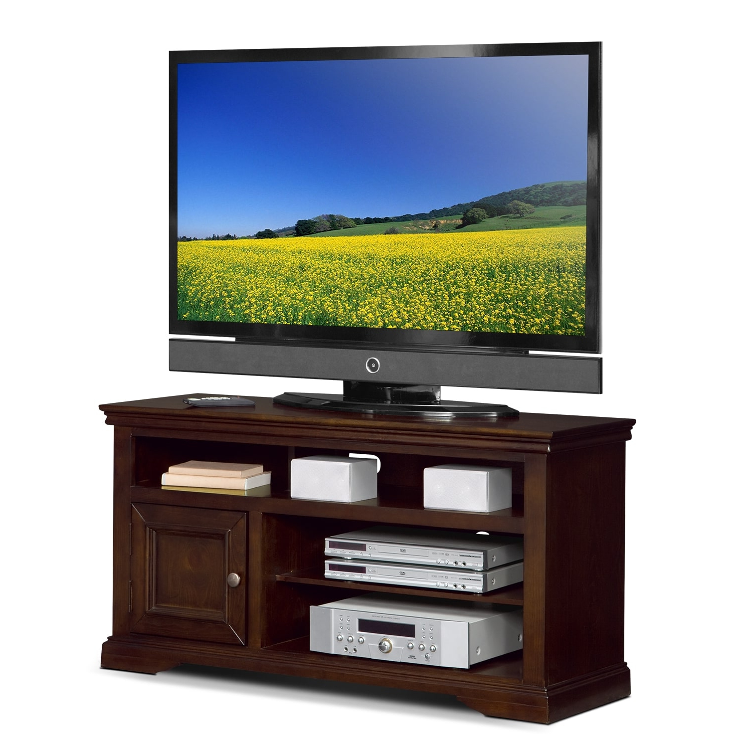 """Jenson 50"""" Tv Stand – Cherry   American Signature Furniture Throughout Leonid Tv Stands For Tvs Up To 50"""" (View 17 of 20)"""