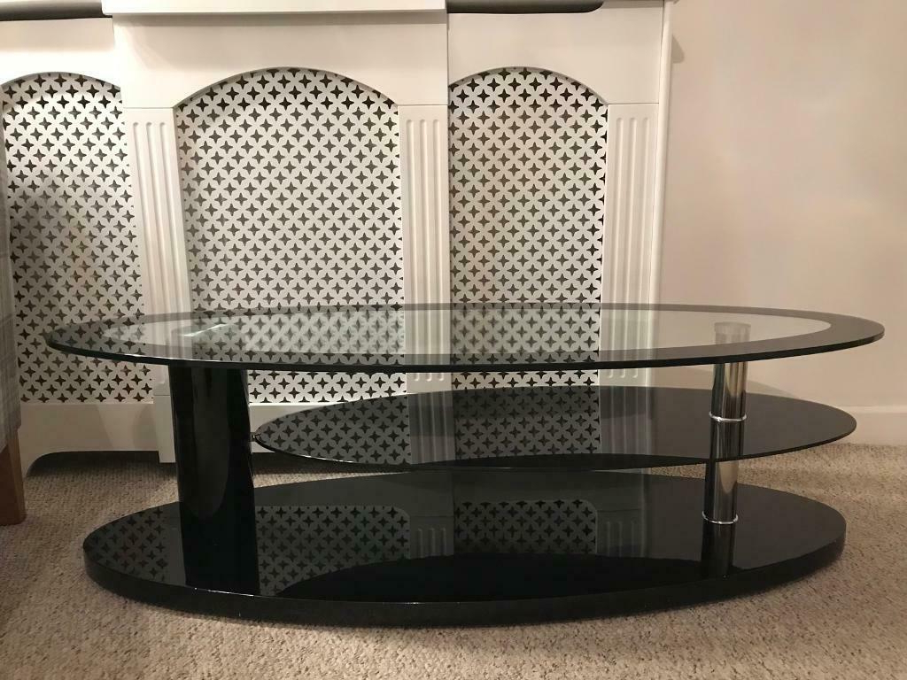 John Lewis Designer Curved Black Clear Glass Tv Stand For Within Compton Ivory Extra Wide Tv Stands (View 16 of 20)