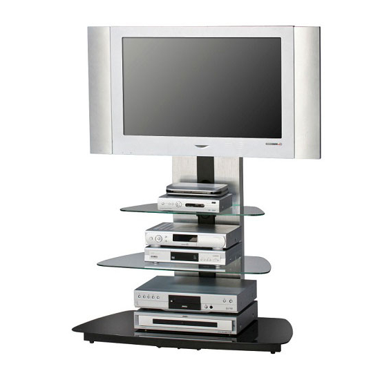Joy Metal Frame Alu Brushed Tv Stand With 3 Black Glass With Tabletop Tv Stands Base With Black Metal Tv Mount (View 13 of 20)