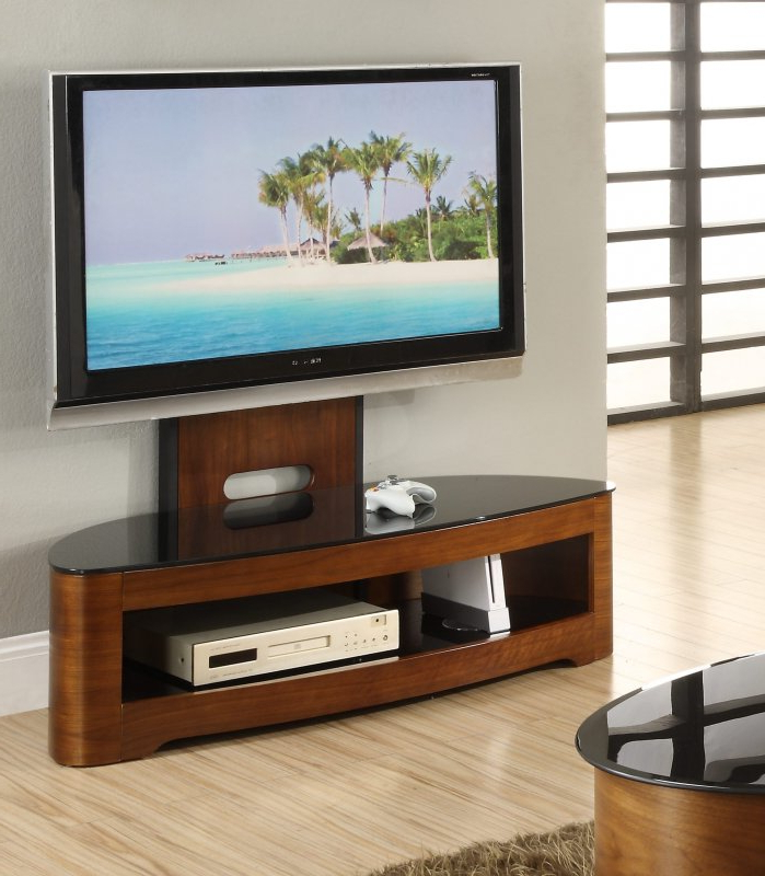 Jual Florence Walnut & Black Glass Curved Wood Cantilever Pertaining To Modern Black Floor Glass Tv Stands With Mount (View 2 of 20)