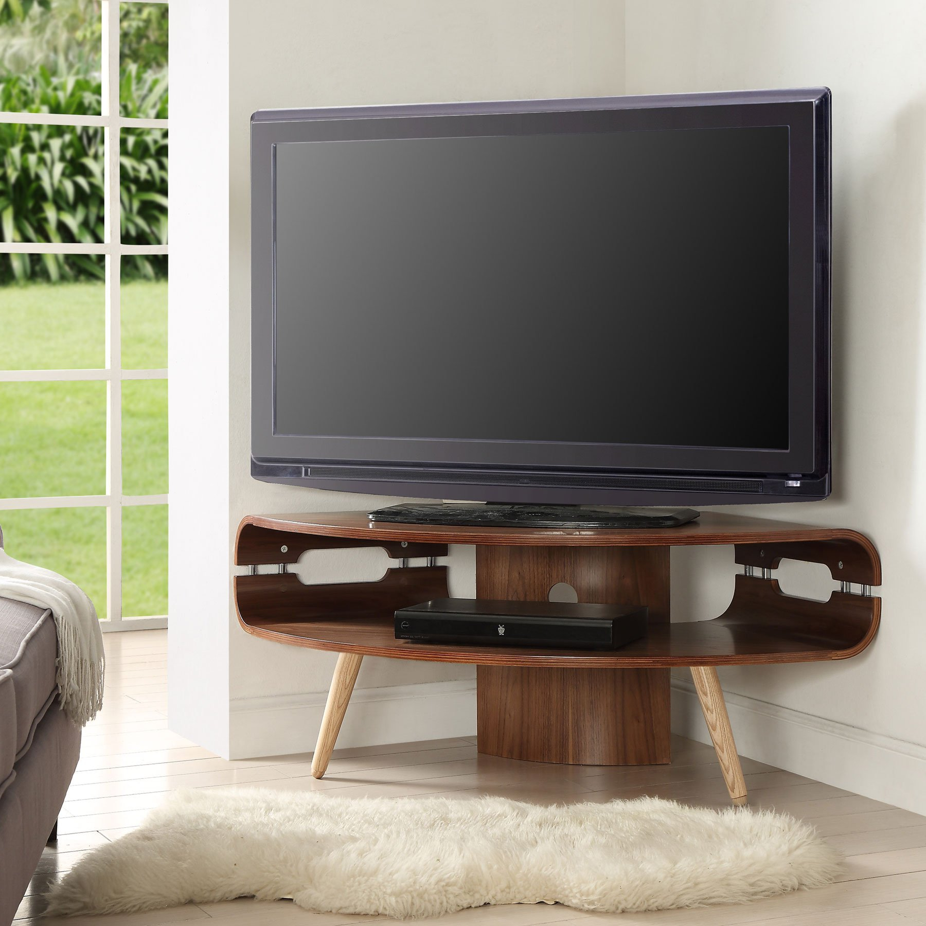 """Jual Jf701 Walnut Corner Tv Stand For Up To 50"""" Tvs In Allegra Tv Stands For Tvs Up To 50"""" (View 10 of 20)"""